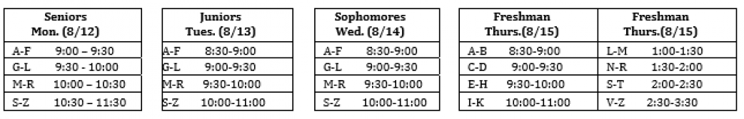 Round Up Schedule
