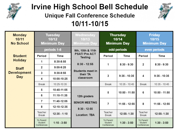 Conference/Testing Week Schedule