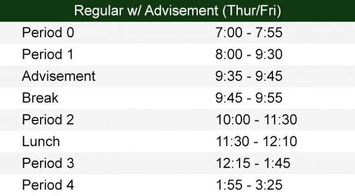 Regular Bell Schedule w/ Advisement