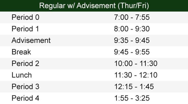 Regular Bell Schedule with Advisement