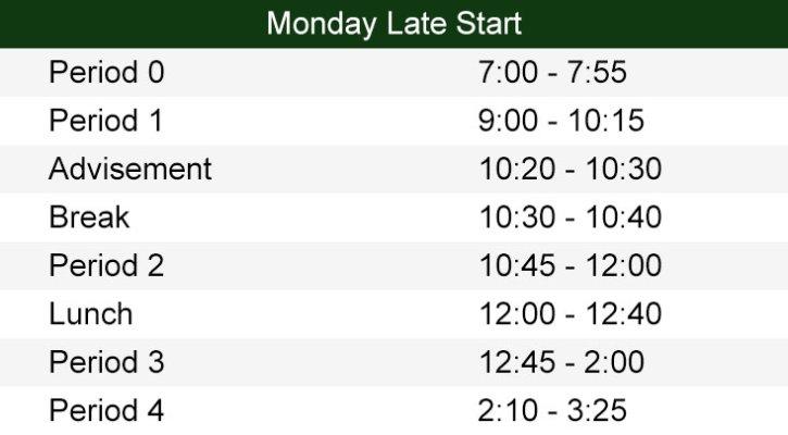 9am Late Start Schedule