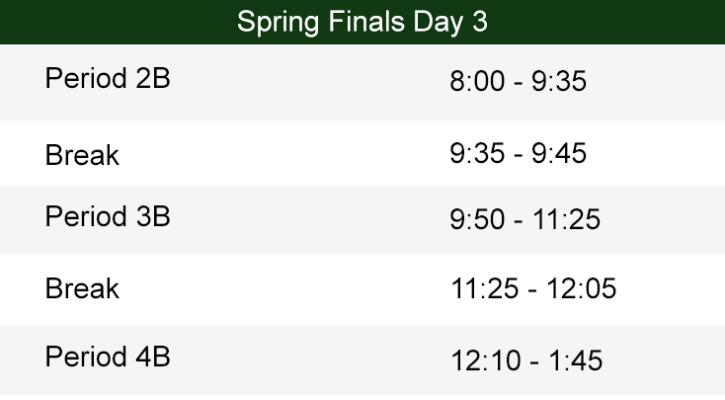 Day 3 Spring Finals Bell Schedule