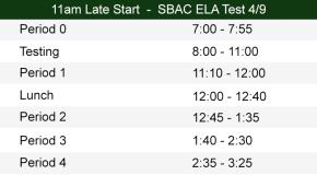 11am Late Start Bell Schedule