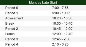 9am Late Start Schedule