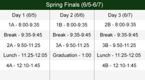 Spring Finals Bell Schedule