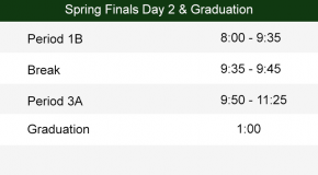 Day 2 Spring Finals Bell Schedule