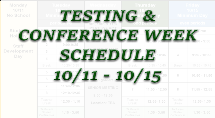 Fall 21 Conference and Testing Week